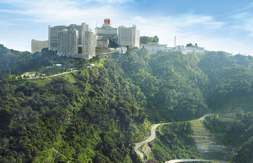 Aerial view of Resort World Genting and Chin Swee Caves Temple at Genting Highlands, Pahang. Top view